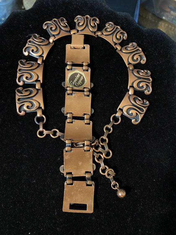 Vintage Mid Century Modern Copper Necklace & Brac… - image 4