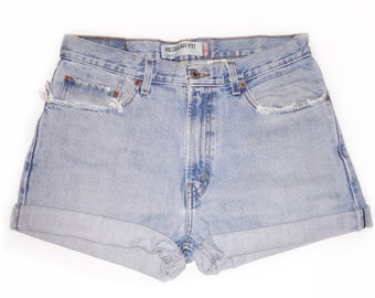 bee36c23 Vintage 90s Levi's Light Blue Wash High Waisted Rise Cut Offs Cuffed Rolled Jean  Denim Shorts – Size 32