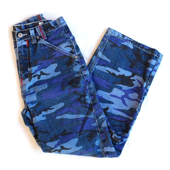Vintage Y2k High Waisted Rise Blue Camouflage Wide