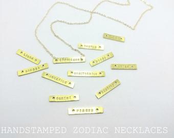 Zodiac / Horoscope / Star Sign Bar necklaces