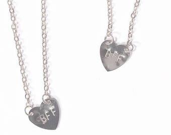 Hand Stamped BFF necklace set (both included)