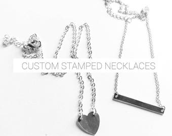 Custom | Personalized Heart or Bar Necklace | gift for her | bff | name necklace | dainty | bridesmaids | heart necklace | bar necklace