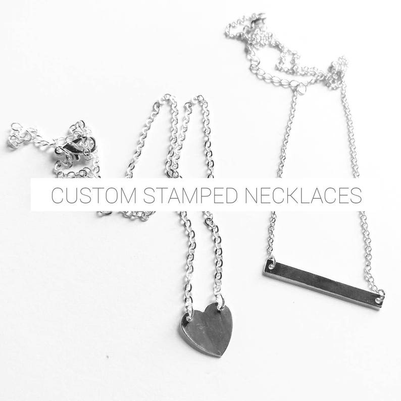Custom  Personalized Heart or Bar Necklace  gift for her  image 0
