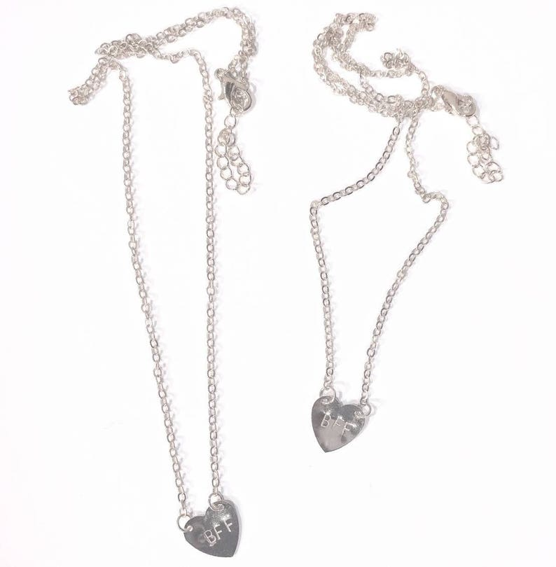 Hand Stamped BFF necklace set both included image 0