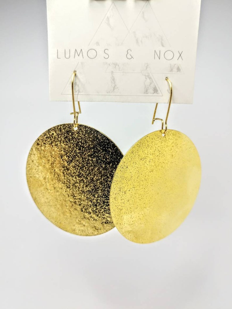 Gold or Silver Large Disc Earrings image 0