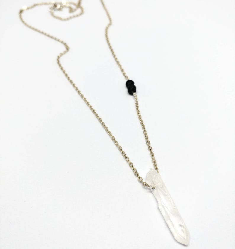 Quartz Diffuser Necklace on gold or silver plated chain image 0