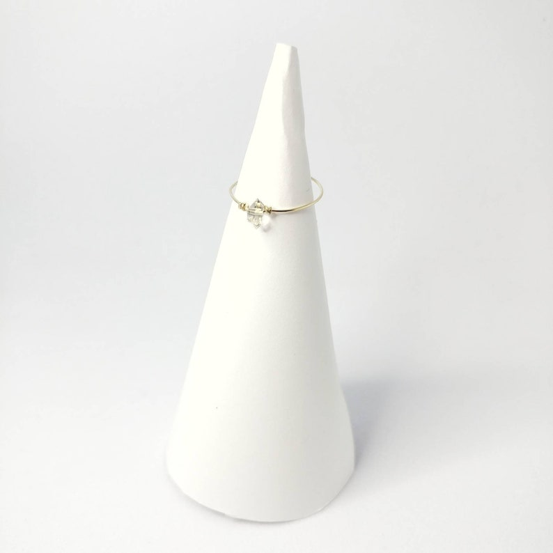 Dainty Herkimer Diamond Ring image 0