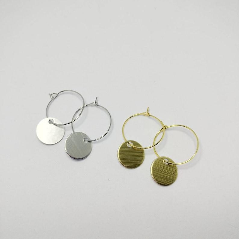 Minimalist Disc Hoop Earrings image 0