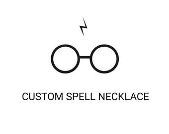 CUSTOM hand bent SPELL NECKLACE / gift / magic / magician/ hp / wand /