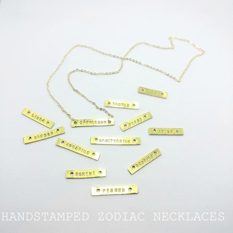 Zodiac / Horoscope / Star Sign Bar necklaces image 0