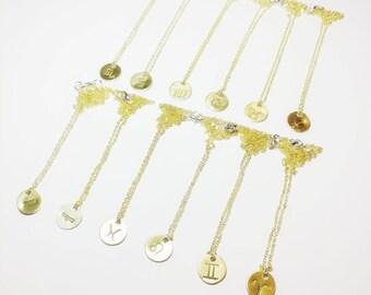 Gold zodiac / horoscope / star sign charm necklace