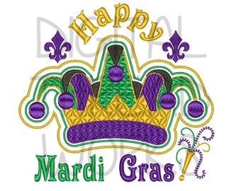 Happy Mardi Gras Jester Crown Embroidery Design for 4x4 5x7 and 6x10 inch hoops. Textured stitching, Instant Download ITEM# HMGJM01