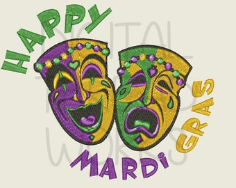 Happy Mardi Gras Comedy Tragedy Theater Masks Embroidery Design. Instant Download for 5x7 and 6x10 inch hoops. ITEM# HMGCTM01