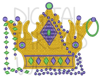 Mardi Gras King Crown and Beads Embroidery Design for 4x4 5x7 and 6x10 inch hoops. Instant Download. ITEM# MGKCB