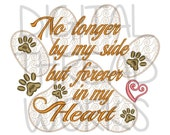 Pet Loss Sympathy Memorial Embroidery Design for 4x4 5x7 and 6x10 inch hoops, Instant Download. Dog Paw. Puppy loss. Memory pillow