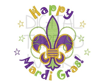 Happy Mardi Gras Fleur De Lis Machine Embroidery Design for 4x4 5x7 and 6x10 inch hoops. Instant Download ITEM# HMGFDL