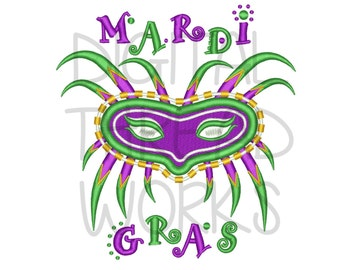 Mardi Gras Mask Embroidery Design for 4x4 5x7 and 6x10 inch hoops. Instant Download. ITEM# MBM07