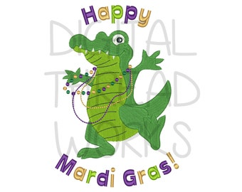 Happy Mardi Gras Alligator Embroidery Design for 4x4 5x7 and 6x10 inch hoops. Party Gator Croc with beads Instant Download ITEM# HMGA