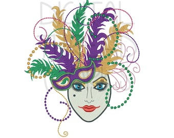 Mardi Gras Lady Mask Embroidery Design 3 sizes 8 formats Instant Download. Feathers & Beads Harlequin Mask Logo 4x4 5x7 6x10 ITEM# MGLM
