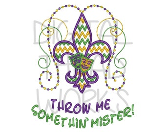 Mardi Gras Throw Me Something Mister Embroidery Design for 4x4 5x7 and 6x10 inch hoops. Instant Download. Parade, Beads. ITEM# TMSM01