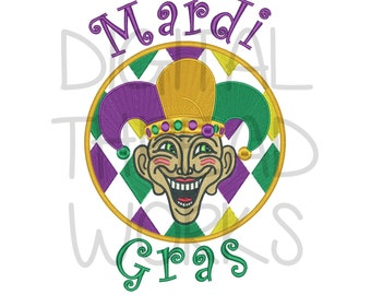 Mardi Gras Harlequin Jester Embroidery Design for 4x4 5x7 and 6x10 inch hoops. Instant Download ITEM# MGHJ