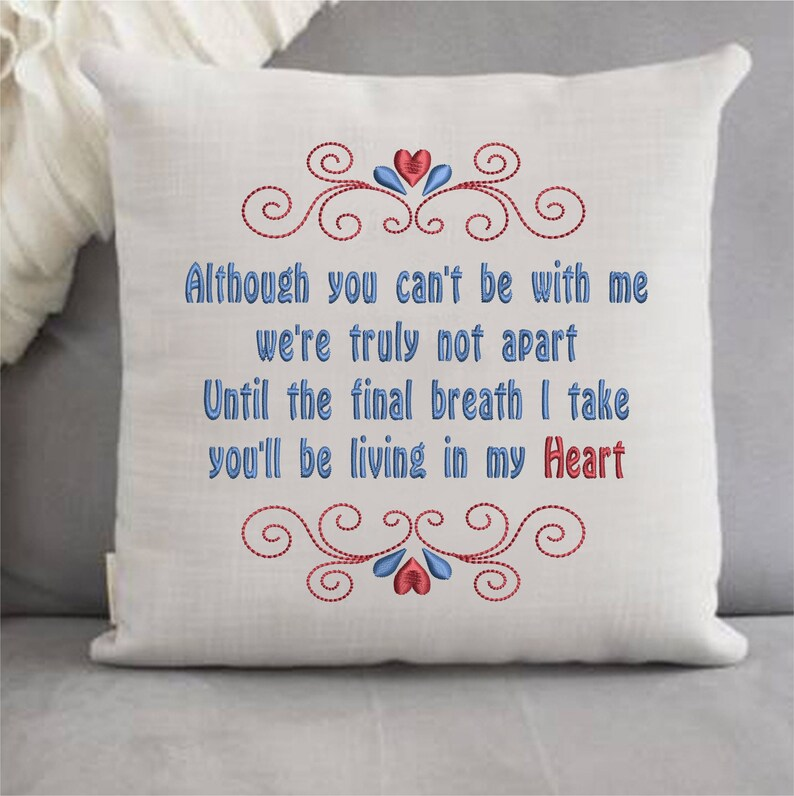 Living In My Heart Sympathy Memory Machine Embroidery Design image 0