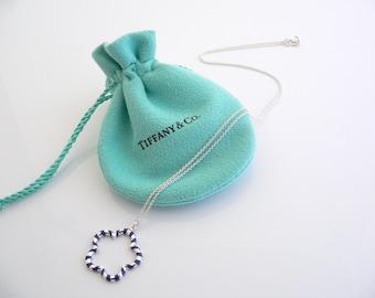 ebb4fd295 Tiffany & Co Silver Blue Enamel Picasso Flower Necklace Pendant Charm 18  Inch Chain