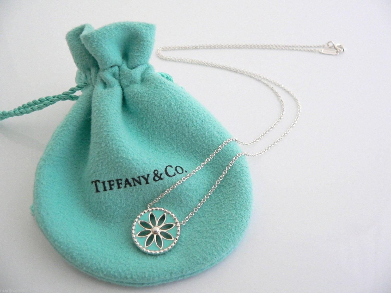 f0d67fcf6 Tiffany & Co Silver Blue Enamel Daisy Flower Necklace Pendant | Etsy