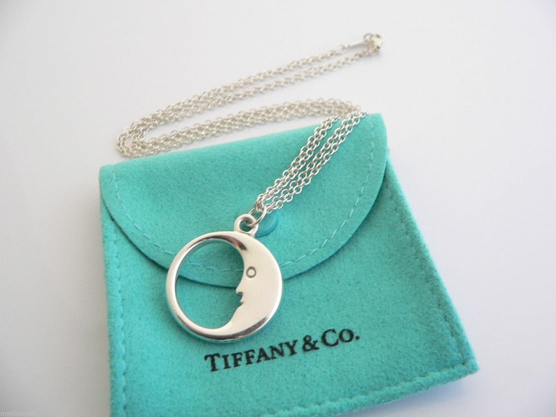 8e8c9d78a Tiffany & Co Sterling Silver Man on the Moon Necklace Pendant   Etsy