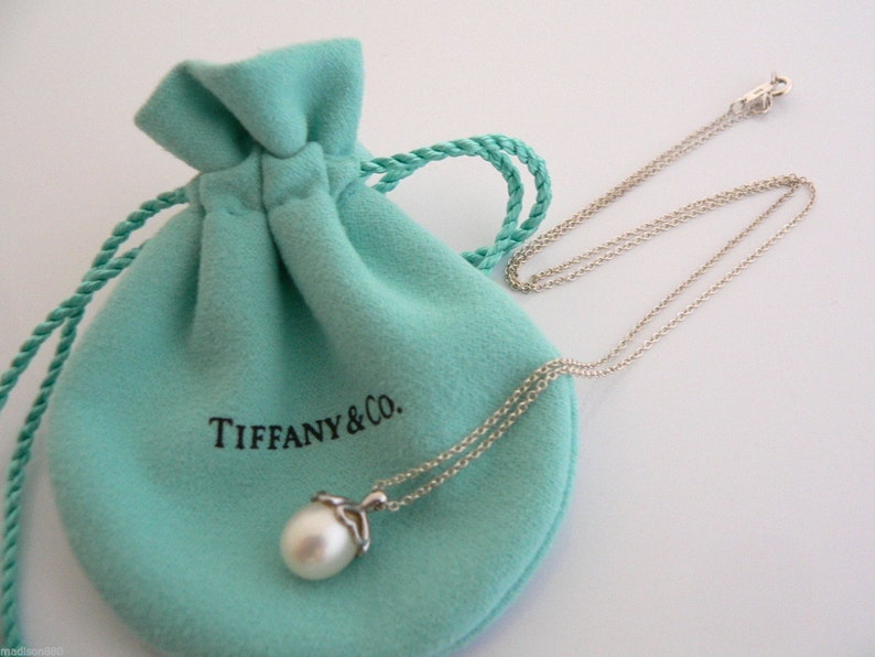 0c9a2dcf7 Tiffany & Co Sterling Silver Heart Cap Pearl Necklace Pendant | Etsy