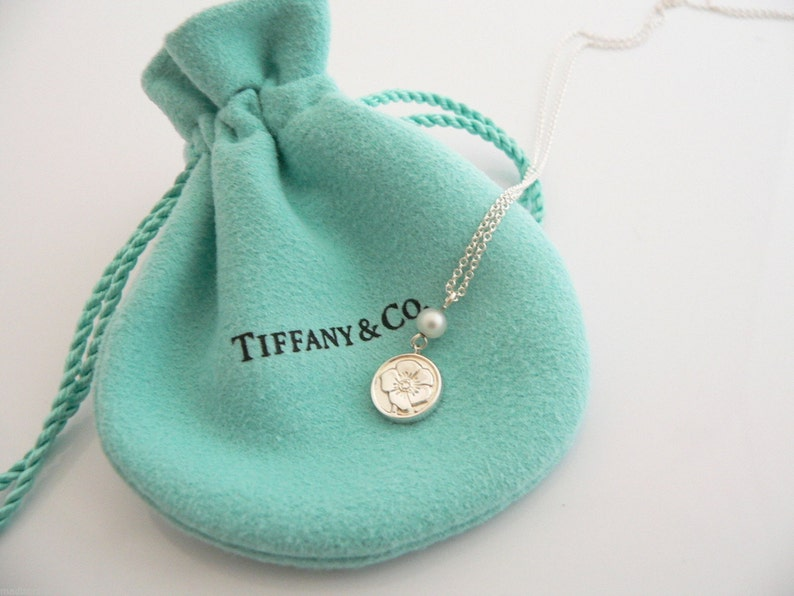 5e1612bab Tiffany & Co. Silver Nature Rose Pearl Necklace Pendant Charm   Etsy