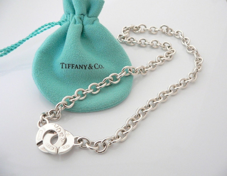 7170dc77b1553 Tiffany & Co Sterling Silver 1837 Circle Clasp Necklace Pendant Charm Chain