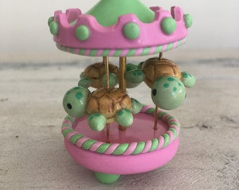 Miniature Carousel Made of Polymer Clay With Sea Turtles In Pink and Green