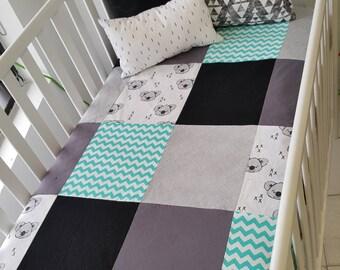 Blanket Quilt blanket for babies - size crib - koala - chevron - turquoise - gray - black