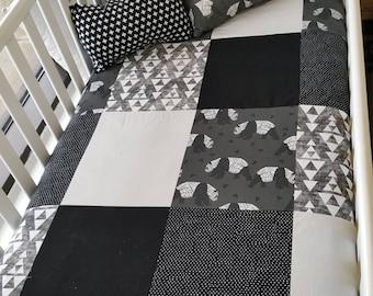 Blanket Quilt blanket for babies - size crib - monochrome, black and white panda