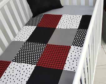 Blanket Quilt blanket for babies - red tile - lumberjack