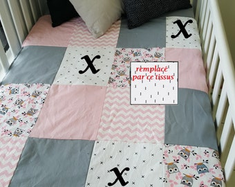 Blanket Quilt blanket for babies - size crib - owl, pink, white and gray