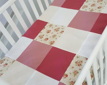 Blanket Quilt blanket for babies - cream white rose flowers - ready to ship