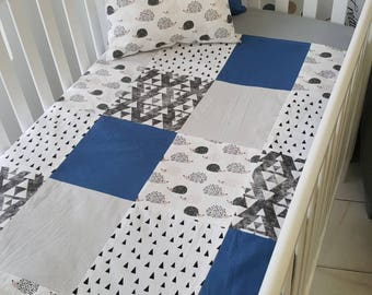 Baby blanket for babies - size crib - hedgehogs - steel blue coutepointe