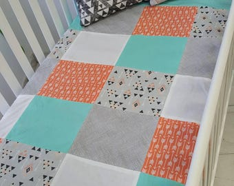 Blanket Quilt blanket for babies - size crib - coral - turquoise - triangle - arrow - ready to ship