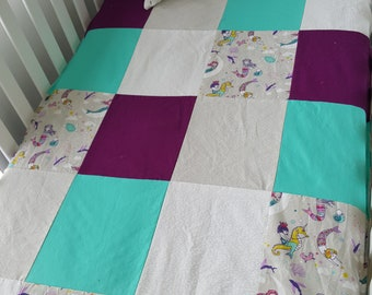 Baby blanket for babies - size crib - Mermaid coutepointe grey teal and purple