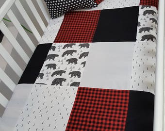 Baby blanket for babies - size crib - bear - lumberjack coutepointe