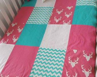 Blanket Quilt blanket for babies - size cribs, deer, turquoise, pink and white