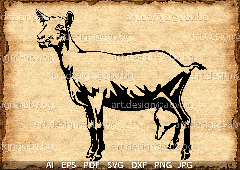 Vector SAANEN GOAT, AI, png, eps, pdf, svg, dxf, jpg Instant Download,  graphical image Art Print, animal, Digital image