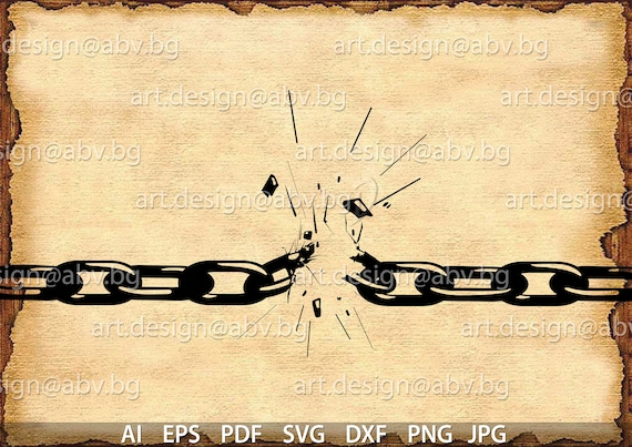 Vector Broken Chains Ai Eps Svg Dxf Pdf Png Jpg Etsy