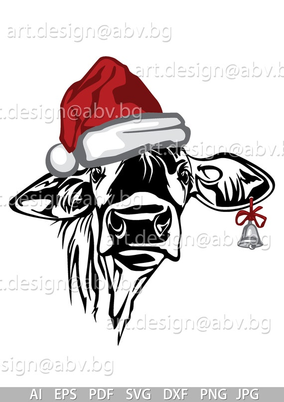 Christmas Hat Drawing Png.Vector Cow With Christmas Hat And Bell 6 Colors Calf Head Ai Png Eps Pdf Svg Dxf Jpg Instant Download Santa Cow Tongue