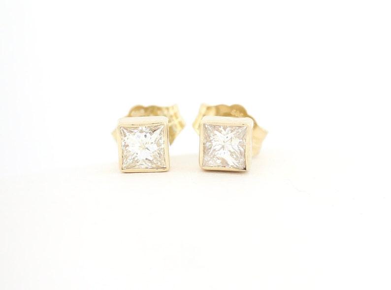 4e2f4f7cea892 Princess Cut Diamond Studs Bezel Set Style, Bezel Set Diamond Studs, Half  Carat Diamond Studs, Diamond Princess Cut Bezel Stud Earrings