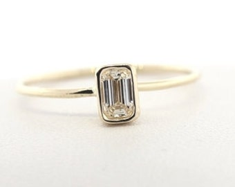 Apx. 0.30 Carat GIA Certified Emerald Cut Diamond Engagement Ring With Bezel Set. Solid White and Yellow Gold Thin Dainty Engagement Ring