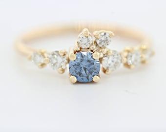 Diamond Engagement Ring, Blue Diamond Ring, Simple Engagement Ring, Lab Grown Diamond Engagement Ring, Conflict Free Ring, Lab Grown Diamond