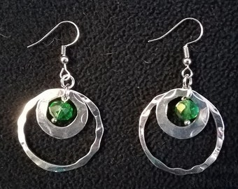Green Rings - Faceted Dangle Earrings